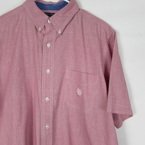 Chaps Large Easy Care Red Mens Button Dress Shirt